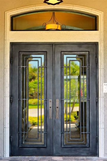 China Cheap Price Decoration Unique Wrought Iron Double Entry Doors on
