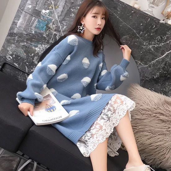 China Polka Dot Long Knitted Cardigans Winter Autumn Womens Covered