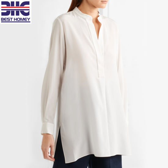 Long Sleeve Silk Crepe De Chine Fashion Tops Button Collar Blouses Womens for Ladies