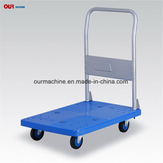 300kg Plastic Platform Hand Truck Foldable Trolley with Silent Caster
