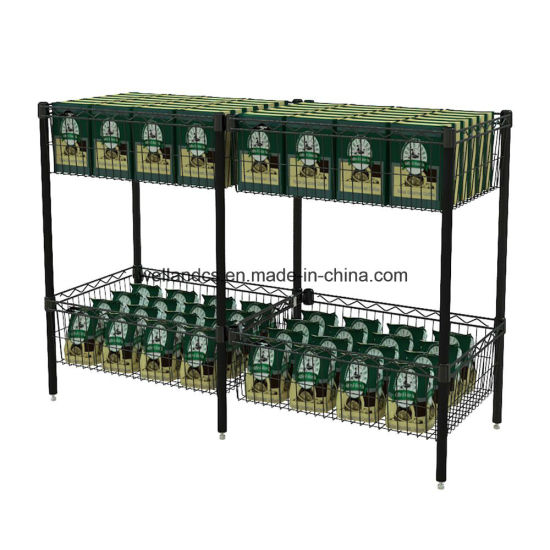 Firm and Beautiful Wire Shelving Type 2 Tiers Supermarket Add-on Metal Snack Food Basket Display Rack pictures & photos
