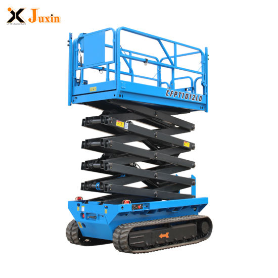 En280 Approved 6m 8m 10m 12m Electric Hydraulic Self Propelled Crawler Wheels Vertical Lifting Scissor Lift for Sale