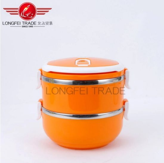 2 Layer Metal Lunch Box with Lock Stainless Steel Lunch Box for Kids