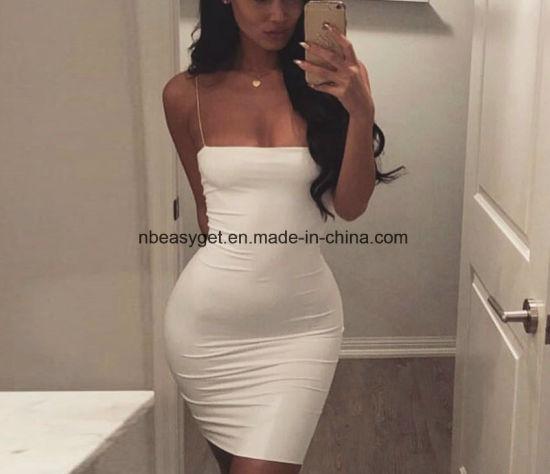 fff2856d70 Solid Women Ladies Strap Sexy Deep V Neck Long Sleeve Tight Mini Sheath  Dress Esg10617