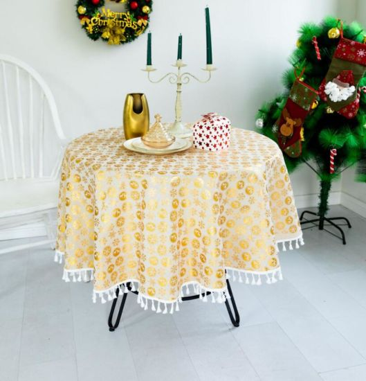 Round Refreshing and Warm Christmas Cotton Linen Table Cloth with Tassels
