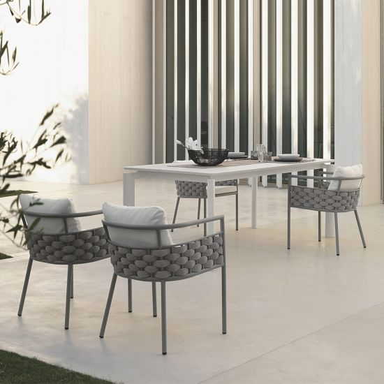 Restaurant Outdoor Rope Woven Dining Table and Chair