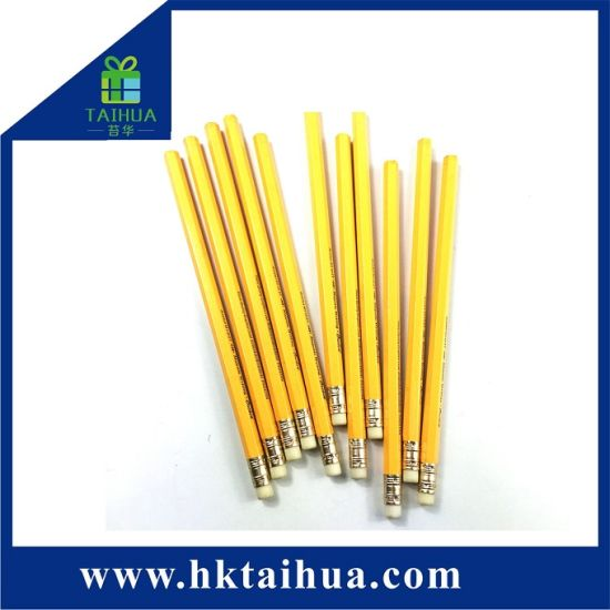Hot Sale Nutral Wood Yellow Color Hb Pencil with Eraser for Student Use pictures & photos