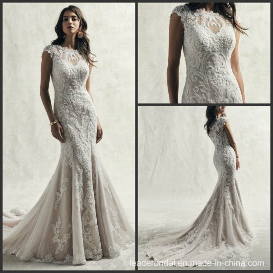 China Lace Bridal Gown Boat Scoop Neckline Mermaid Wedding Dress
