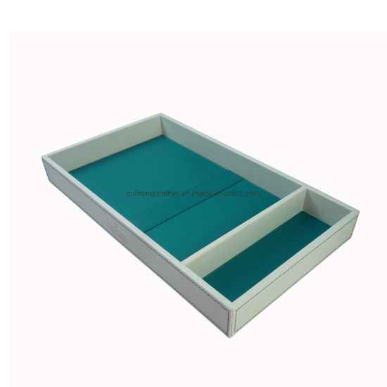 Color Match of Rectangular PU Leather Hotel Tray pictures & photos