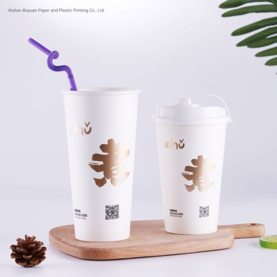 Disposable Single Wall Double Wall Cold Drink Paper Cup with/Without Lid