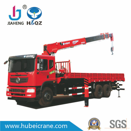 China Factory HBQZ 12tons Hydraulic Telescopic Boom Truck Mounted Crane Cargo Cranes for Sale