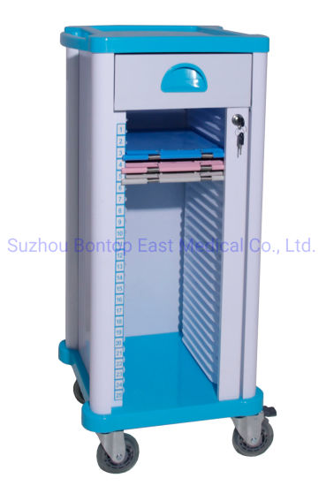 Hospital Medical Chart Holder Case History Records Trolley Patient File Cart with 25 Layers Capacity OEM ODM