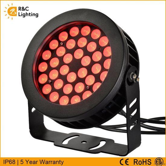 ENEC Ce ETL Approved Round Outdoor Exterior Landscape IP66 Waterproof DMX512 Control 18W/24W/36W RGB LED Flood Light
