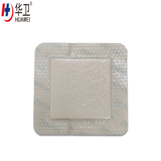 10X10 Adhesive Absorbent Pad Silicone Foam Wound Dressing with Border