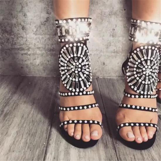 Summer Girls Embellished Stiletto Heels Ladies Shoes Diamonds Suede Women Sandals