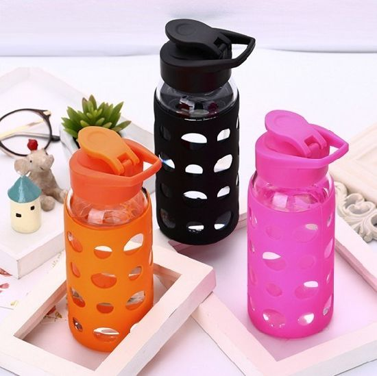 Wholesale 400ml Thermal Insulation Outdoor Glass Bottle with Silicone Sleeve