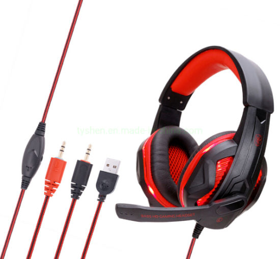 Computer Gaming Headset, 1 Color LED Lighting, USB&3.5 Audio Port pictures & photos