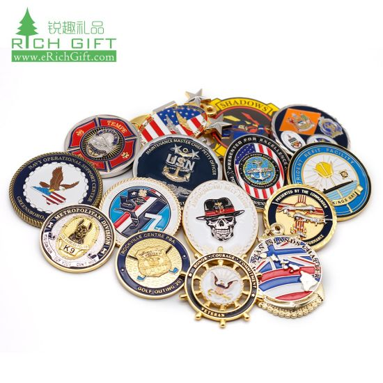 Custom Lapel Pin Medal Antiqu Trolley Token Double 24K 3D Silver Plastic Souvenir Navy Military Police Gold Metal Challenge Coin No Minimum for Promotional Gift