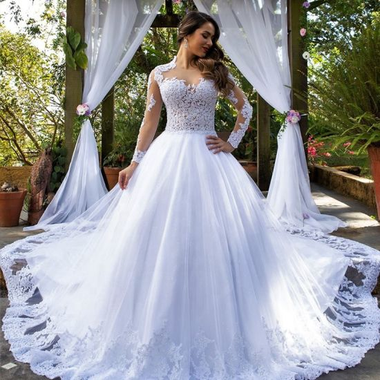 Hot Selling Sheer White Long Sleeve Wedding Dress Bridal Gown pictures & photos