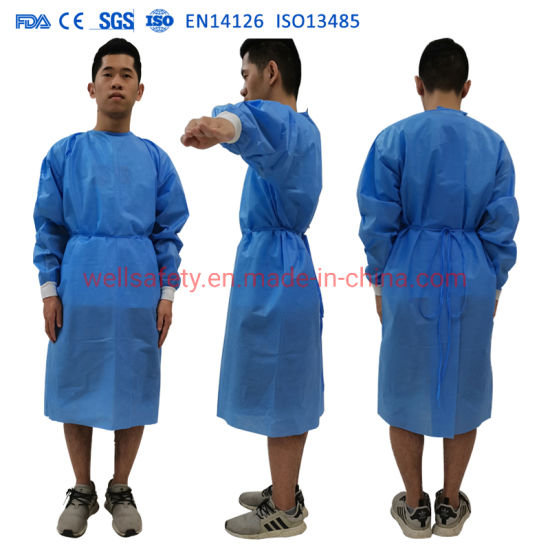 ISO SGS En13485 En1379 AAMI Class Andimpervious Gown Level 3 and Isolation Suit with Dustproof and Waterproof, PP + PE & SMS + PE Non Woven