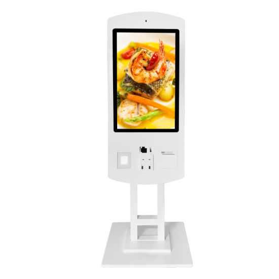 Aiyos Dual Screen 32 Inch Standing Self Service Queue Management Systems Payment Kiosk with Printer