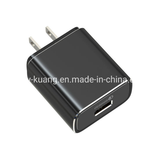 India Ar Us UK EU Wall Charger Fast Charge with QC3.0 Ce FCC RoHS 1 USB Port