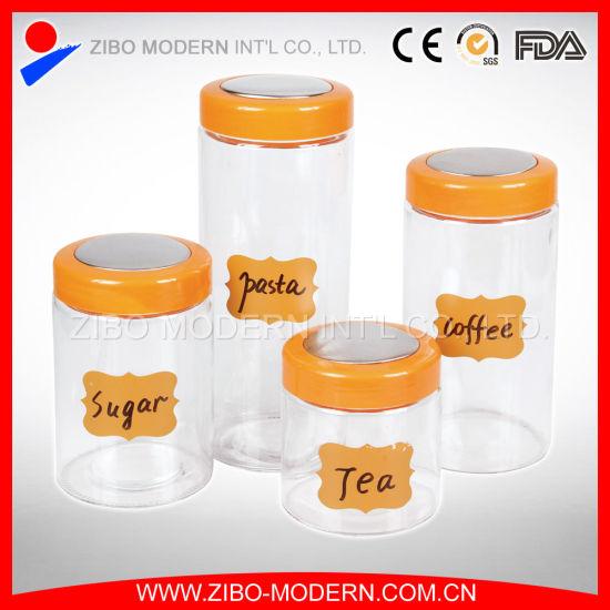 China Pasta Coffee Storage Jar with Plastic Lid Clear Glass