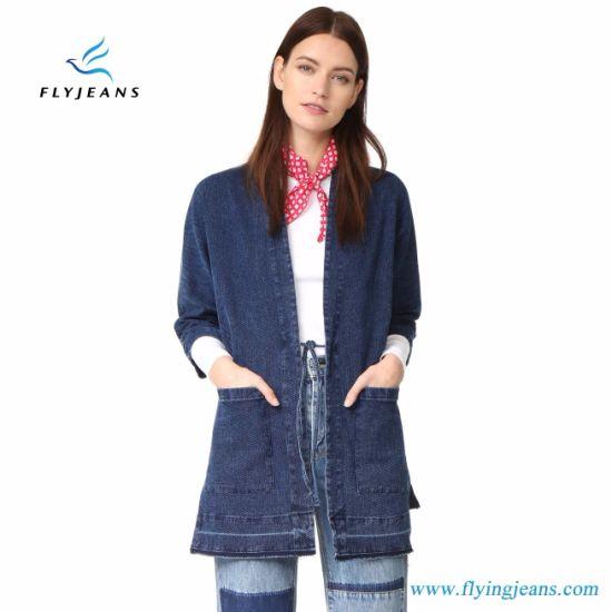3318b8874c0f China Fashion Casual Blue Wrap Coat Women Denim Jacket - China ...