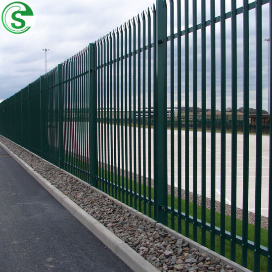 Green Powder Coated Palisade Fence Security Iron Picket Fence