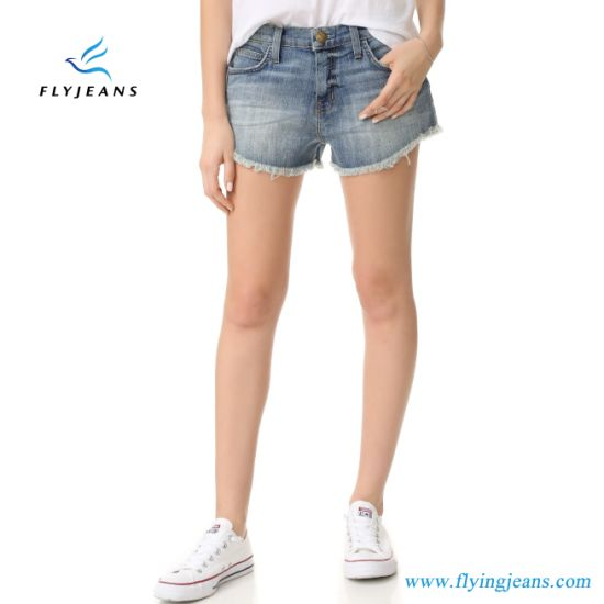 LadyWomen Fashion Faded Skinny Frayed Cuffs Jeans Mini Pants Denim Shorts by Manufacturer