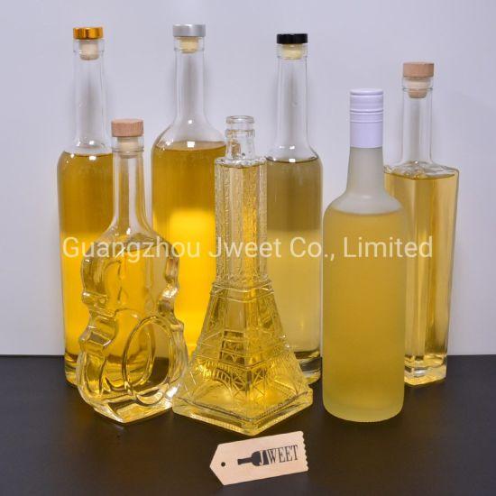 Custom Design Round Square Flat High Flint Crystal 50cl 70cl 75cl 1L 1.75L Alcohol Spirit Beverage Liquor Glass Drinking Bottle