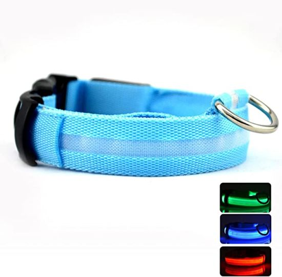 LED Nylon Classic Solid Colors Collar USB Rechargeable Pet Collar