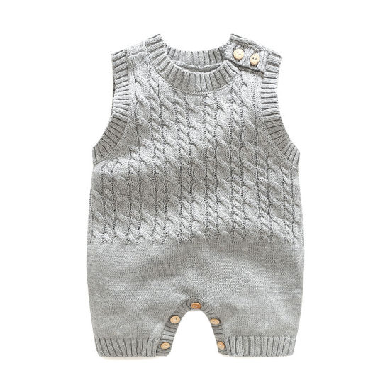 Baby Clothes Simple Twist Knitted Sleeveless Jumpsuit
