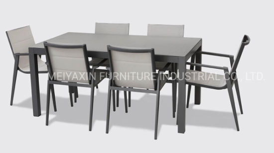 Modern Hotel Pool Side Aluminum Textile Dining Set