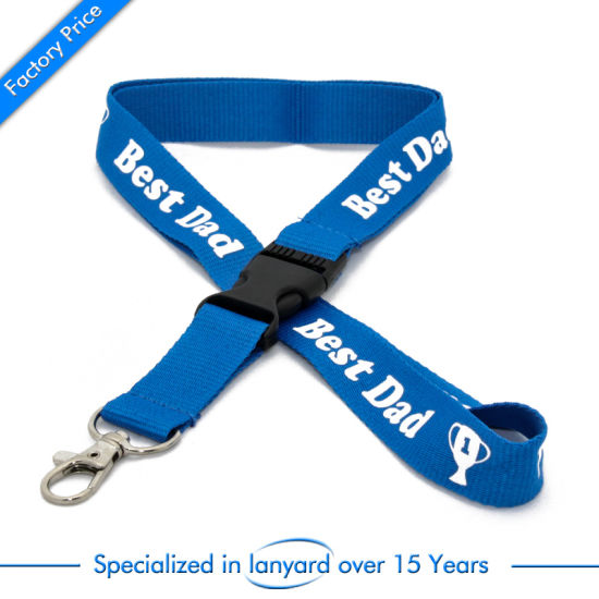Screen Printed Stain Ribbon Polyester Lanyard Olympic Premium Pouch Rivet pictures & photos