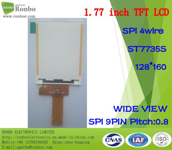 1.77 Inch Spi 128*160 TFT LCD Panel, St7735s, 9pin with Option Touch Screen pictures & photos