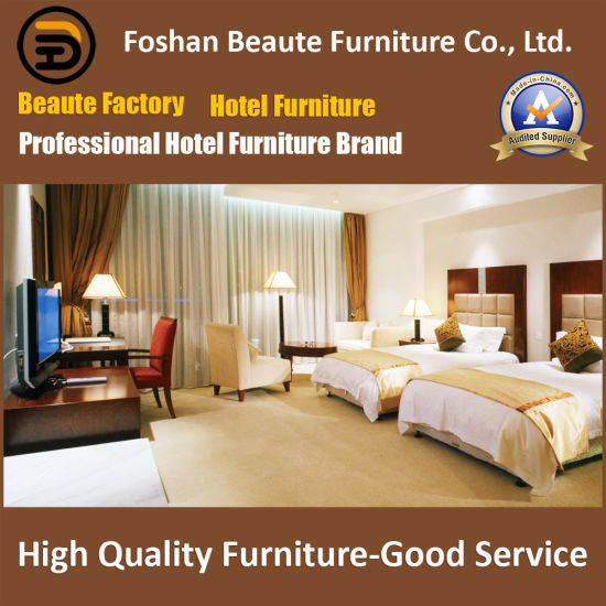 Customized Wooden Plywood Veneer Lacquer Fabric Headboard Standard Hotel Double Room Furniture Suite (GLB-00002)