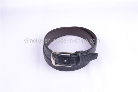 Fashion Style Embossed Logo Alloy Pin Buckle Man′s PU Belt pictures & photos