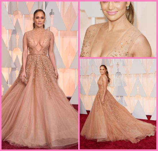 Jennifer Lopez Oscars Dresses Red Carpet V-Neck Tulle Prom Evening Dress A2016 pictures & photos