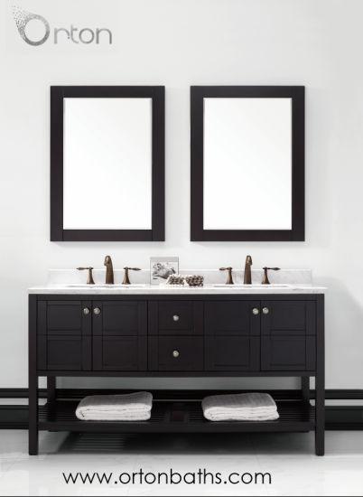 North American Two Ceramic Sinks Oak Wood Vanity Bathroom Furniture