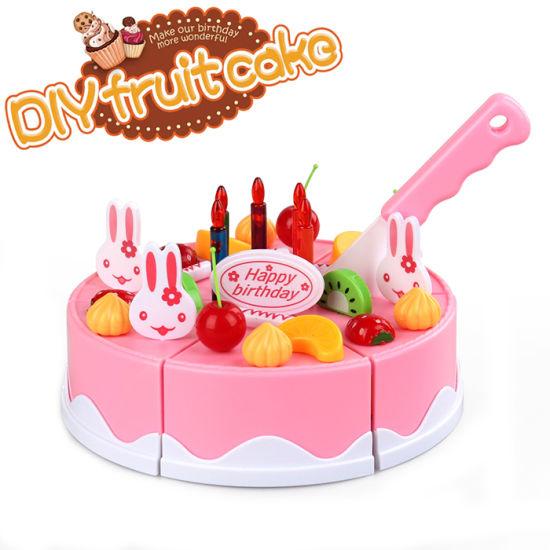 DIY Fruit Birthday Cake Kitchen Play Set Cutting Cake Toy