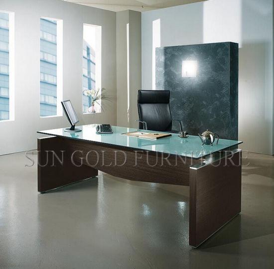 Glass Top Office Desk Modern To Modern Tempered Glass Top Office Furniture Modular Boss Desk szod491 China