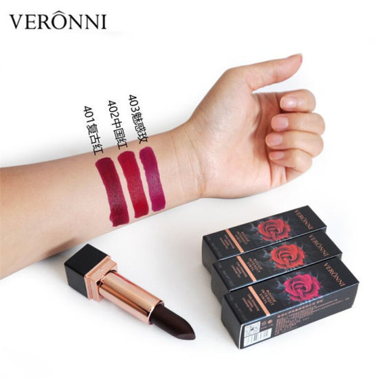 High Quality Veronni Black Rose Black Outlooking Moisturizing Matte Lipstick 3 Colors pictures & photos