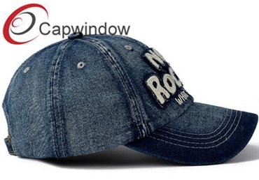 Denim Baseball Hat with Big Puff Logo for Fashion Party pictures & photos