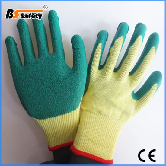Cotton Knitting Crinkle Latex Coated Gloves Working Work Safety Gloves