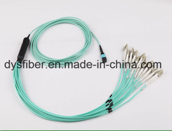 MPO-LC Uniboot Om3 8cores Fiber Optical Patchcord pictures & photos