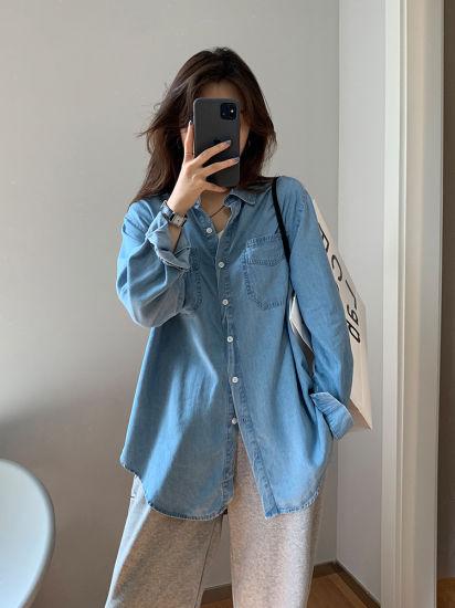 Cowboy Shirt Female Long Sleeve Spring New Style Fold Wear Korean Edition Loose Restore Ancient Ways Joker Casual Shirt Clothing
