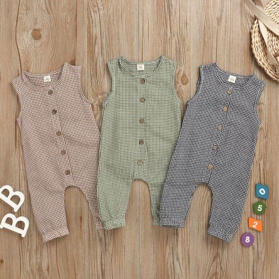Summer Clothing Plaid Sleeveless Bodysuit Baby Clothes