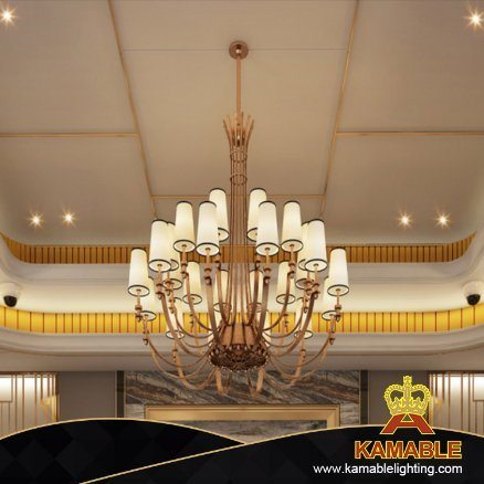 Rose Gold Hotel Project Stainless Steel Fabric Shade Pendant Lamp