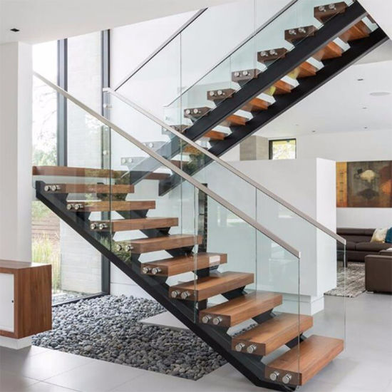 Prima New Design Indoor Tempered Glass Railing Wood Straight Staircase